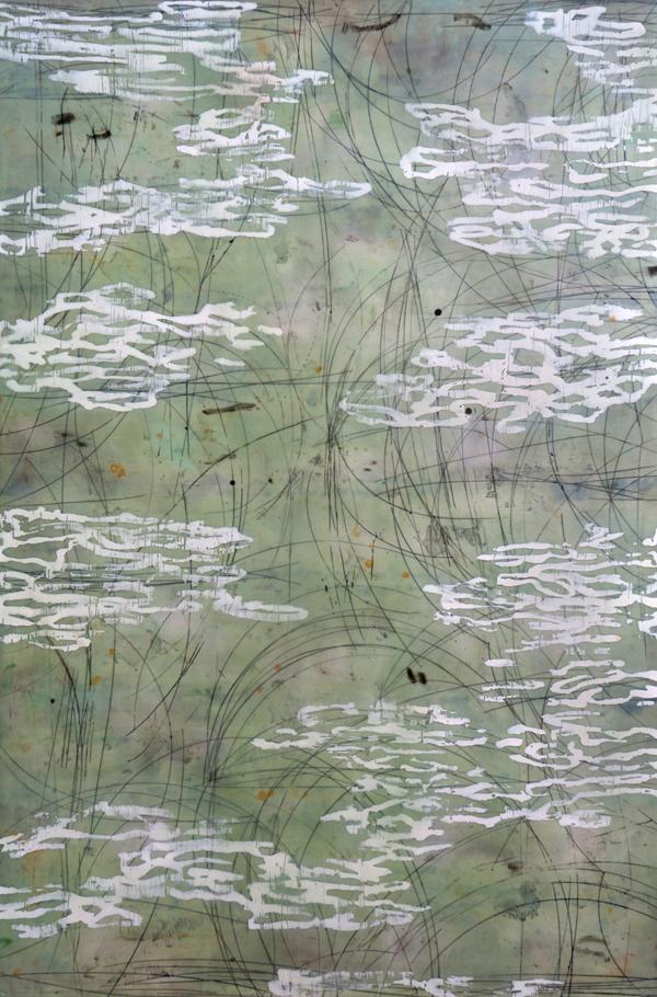 """Shawna Moore - """"Reef Wind"""" in Encaustic on Panel"""