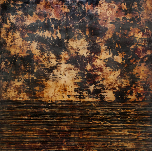 "Shawna Moore, ""Land Divide,"" 40"" x 40"", encaustic on panel, 2015"