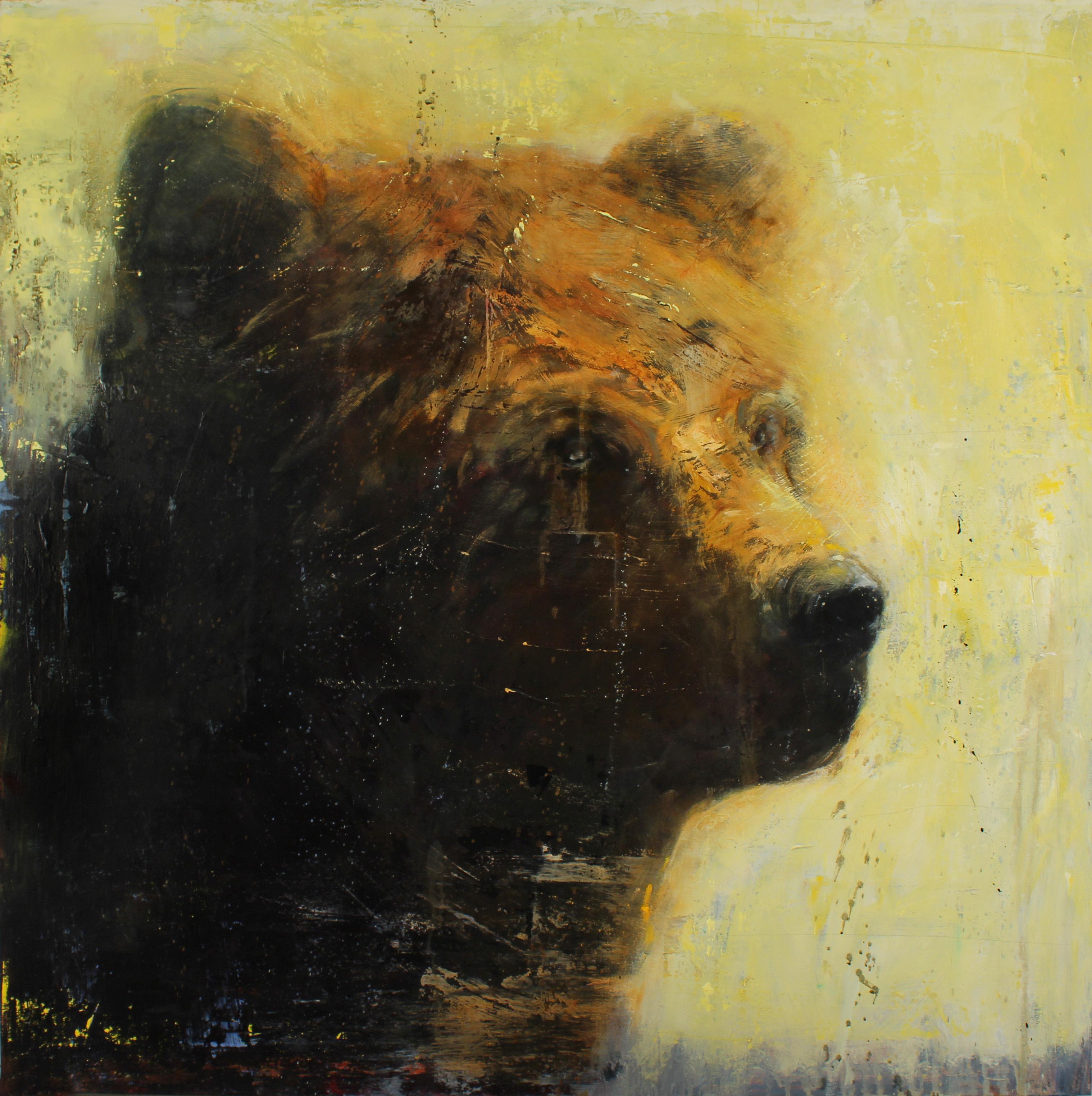 """""""Clever Bear,"""" by Matt Flint, 40"""" x 40"""", 2015"""