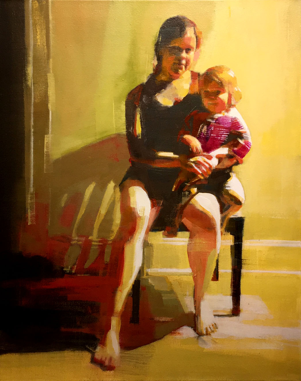 """Artist: Mark Horst Title: Mother and Child No. 4 Medium: Oil Painting Size: 30"""" x 24"""" Price: $1,875"""