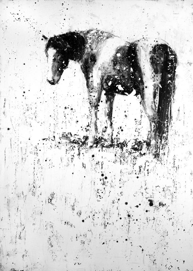 "Artist: Matt Flint Title: Standing In Snow Medium: Mixed Media Size: 42"" x 30"" Price: $2,900"
