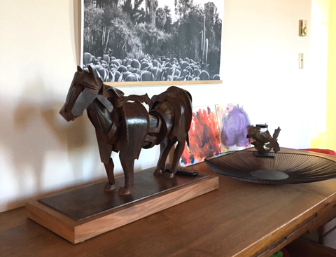 At Burnes' home, a horse maquette sits on their entryway table