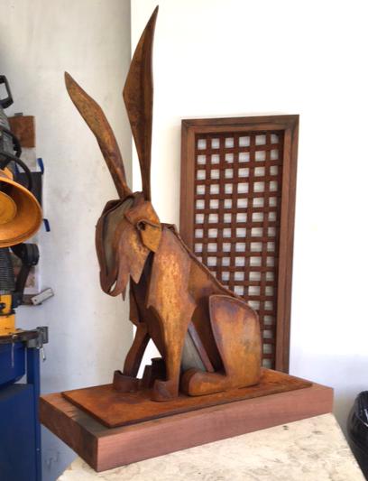 New commission work: a jack rabbit sculpture