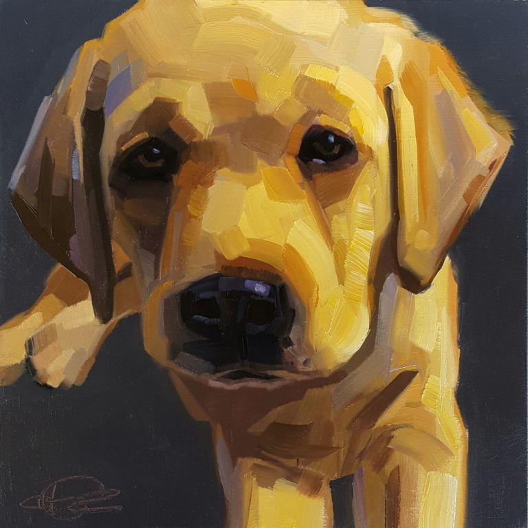 """Wee Sleepy Puppy"" by Cristall Harper, $425"