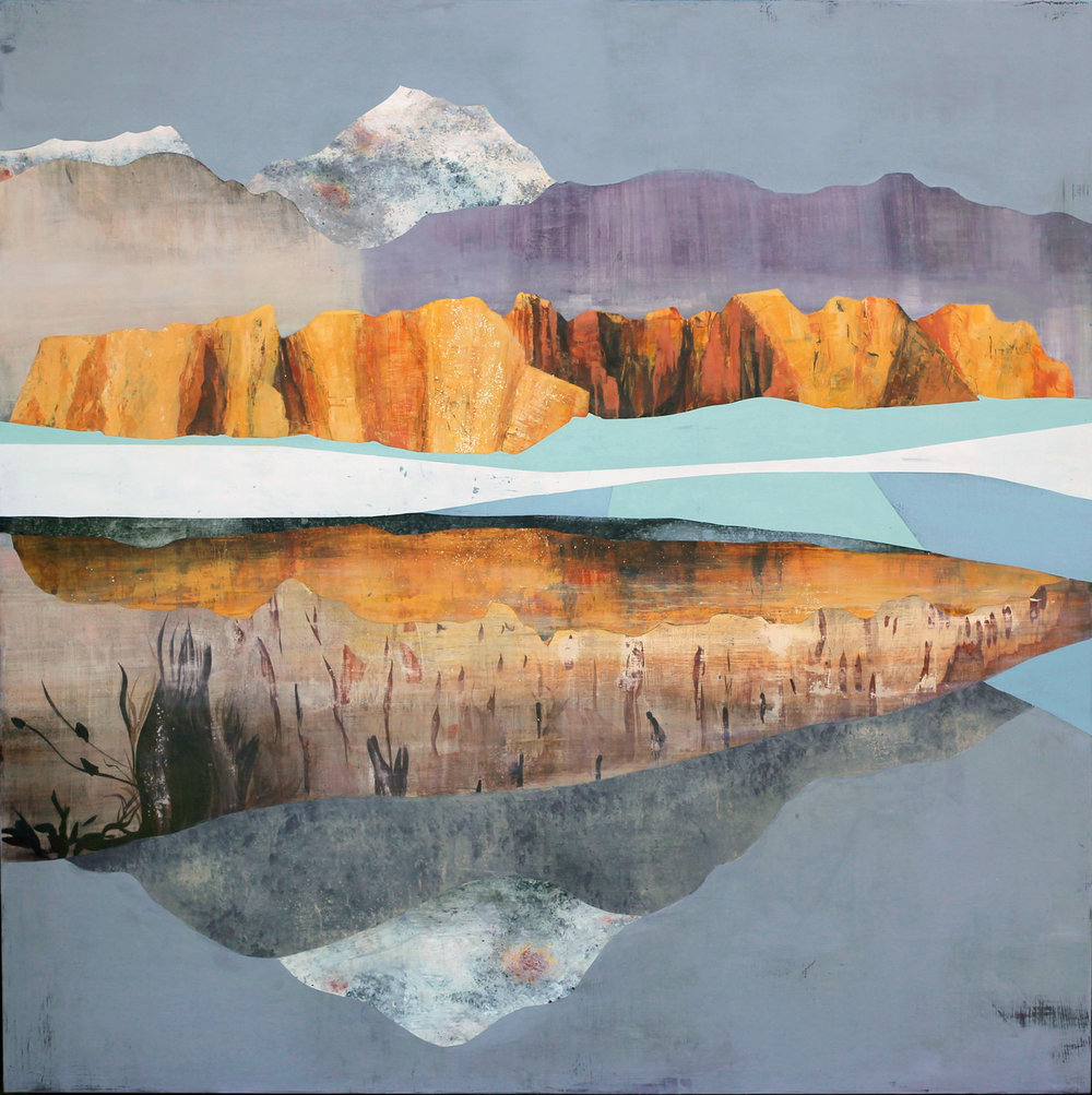 "Sarah Winkler's ""White Water Canyon,"" 60"" x 60"", acrylic on panel, 2016"