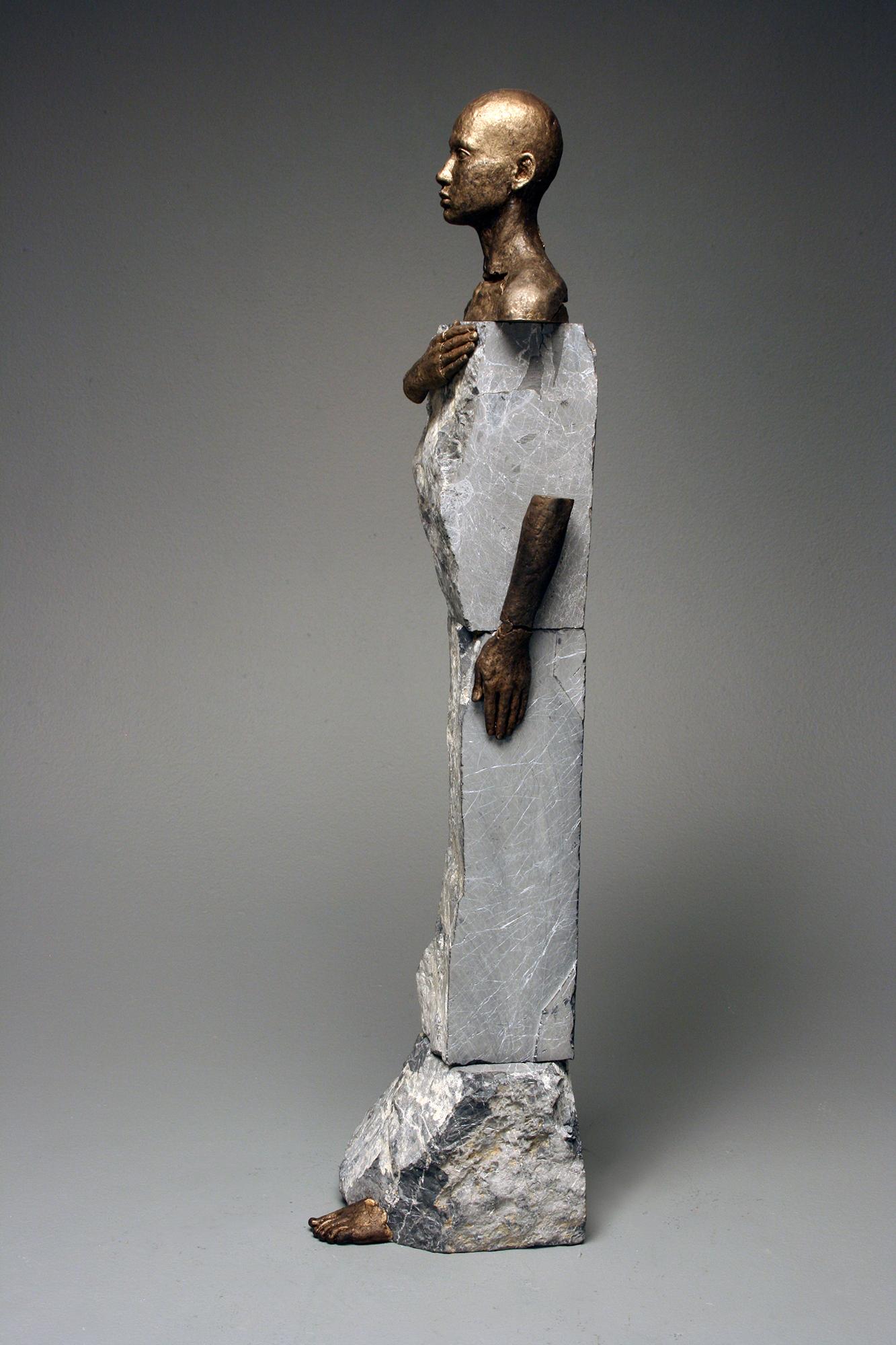 """Bryon Draper, """"Brave Patriot,"""" 28"""" x 7"""" x 7"""", Bronze and Stone, 2017"""