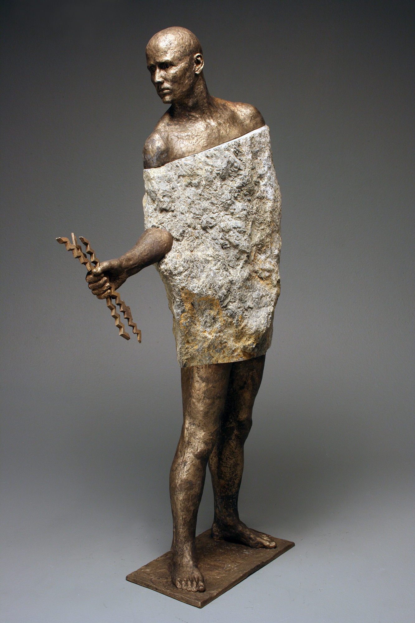 """Bryon Draper, """"Giving of the Water,"""" 31"""" x 12"""" x 7"""", Bronze and Stone, 2017"""