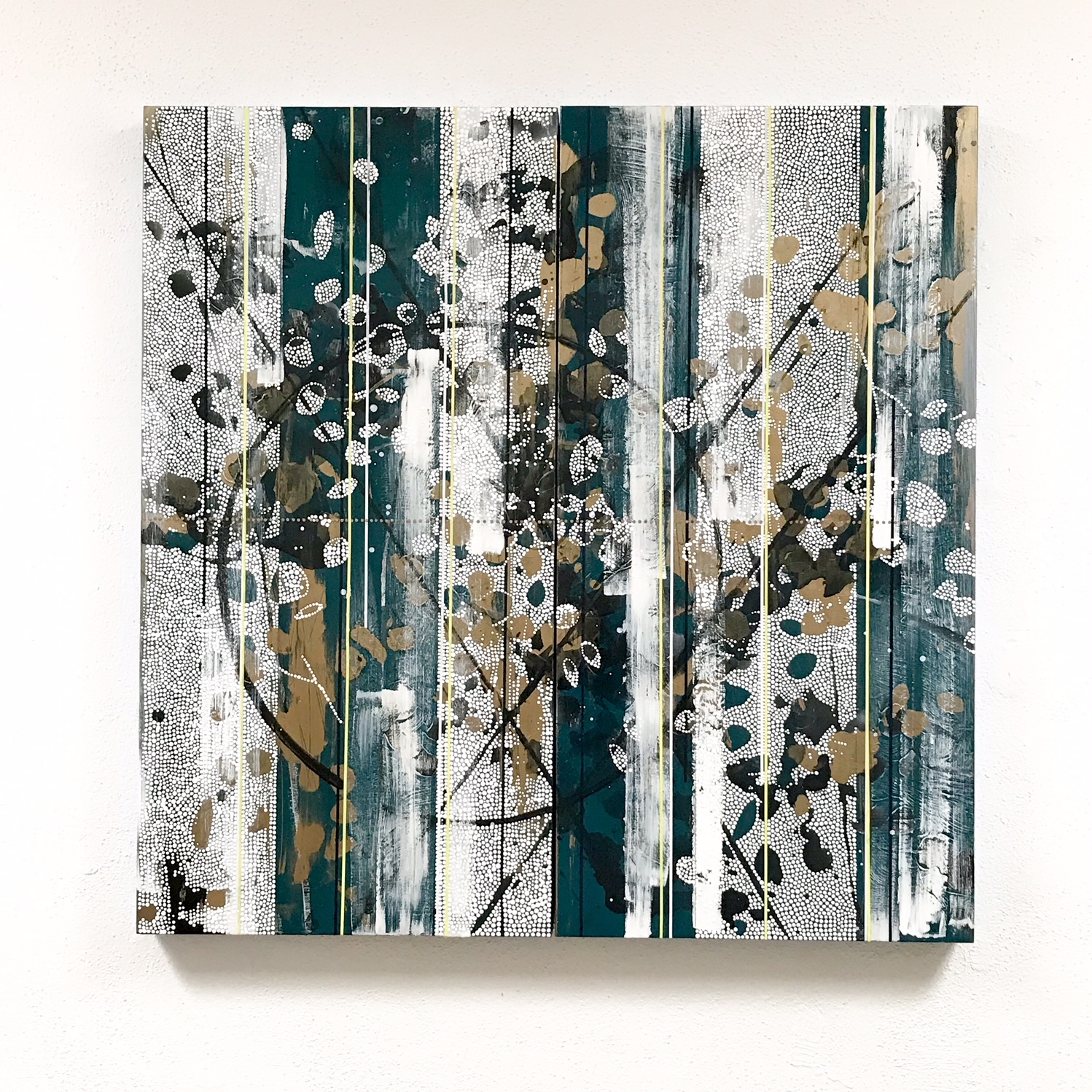 """Greens and blues take center stage in this piece, """"Capsized Forever Into This Infinite Golden Sea"""""""