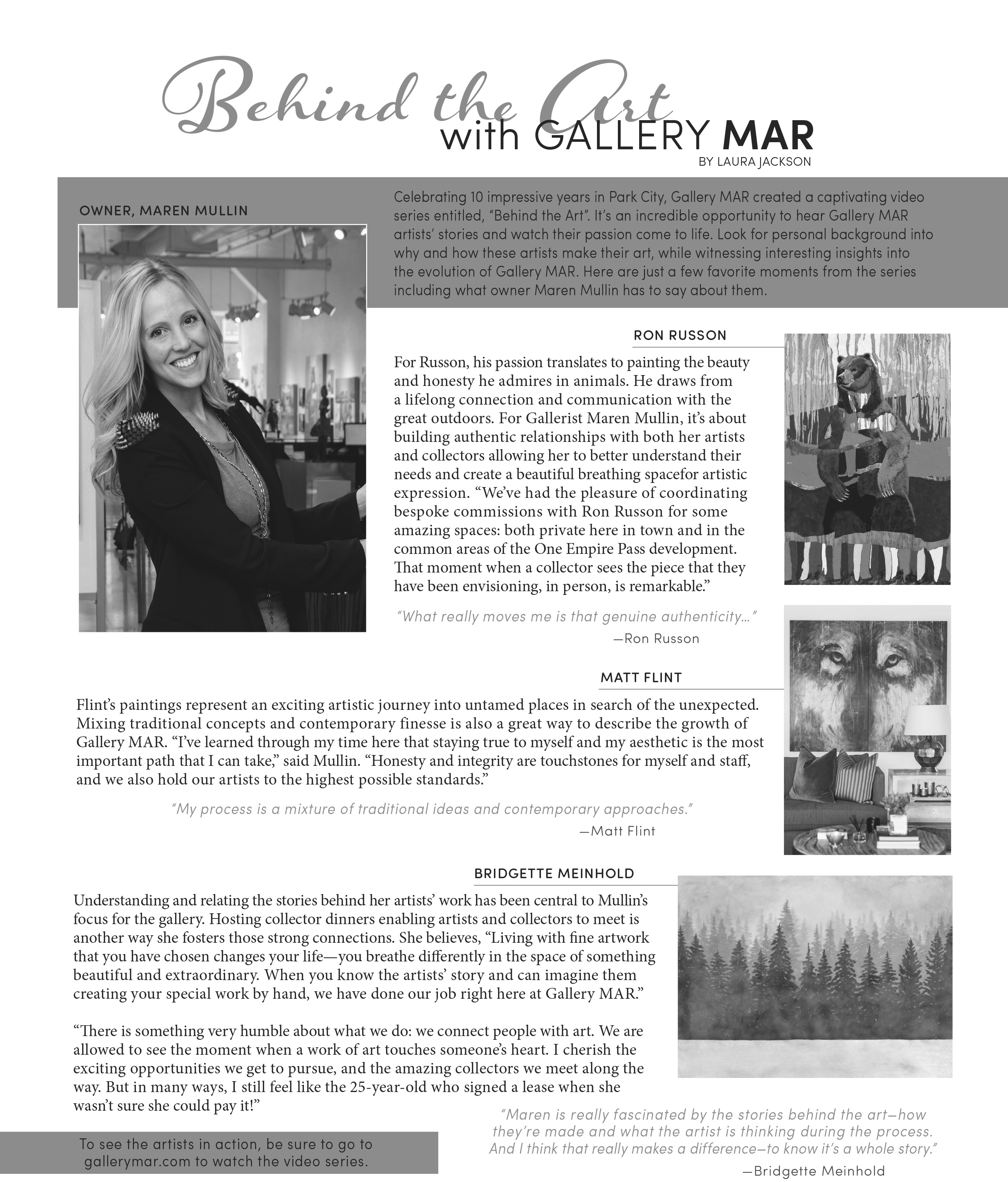 Gallery MAR, as featured in Mountain Express Magazine