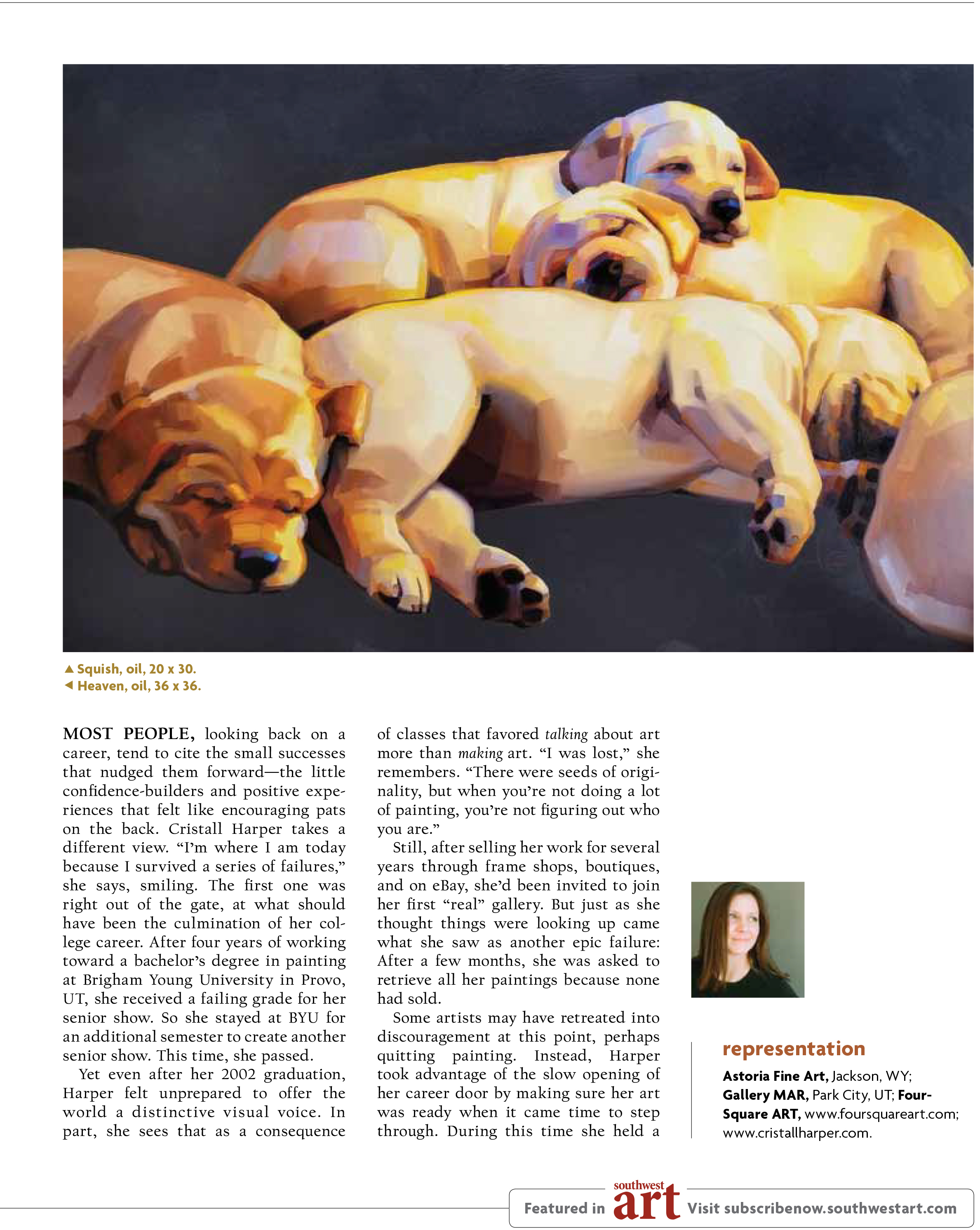 Cristall Harper in Southwest Art Magazine