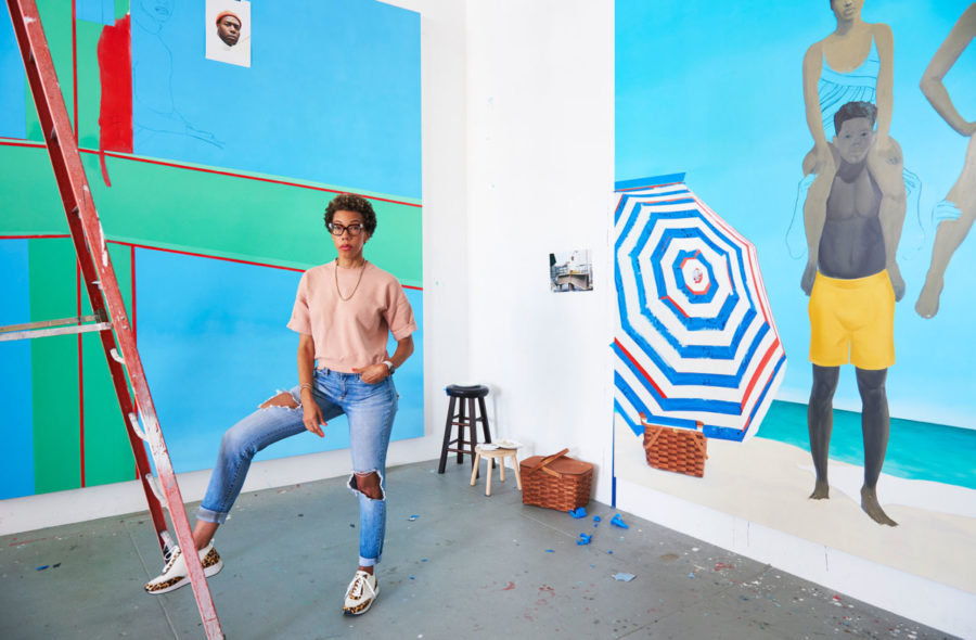 Amy Sherald in her studio, with works in progress
