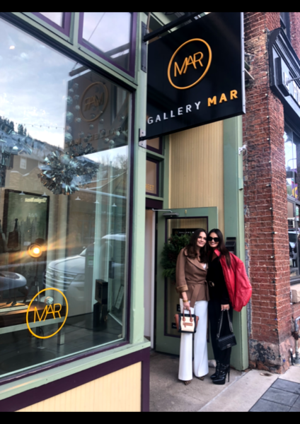 Lisa Barlow and Meredith Marks at Gallery MAR, filming the Real Housewives of Salt Lake City