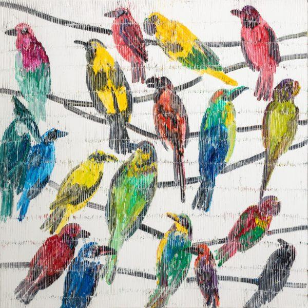 """Rarity Birds"" by Hunt Slonem, 48"" x 48"", oil"