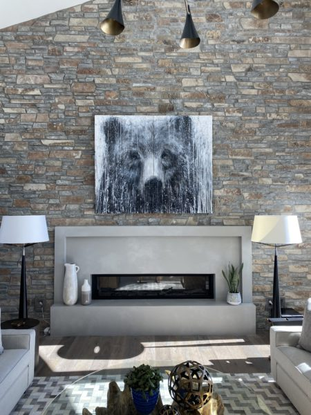 A Matt Flint Painting: installed onto a stone wall by Dave Berry