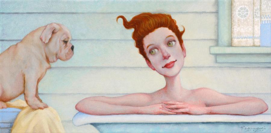 """Quiet Conversation,"" 10"" x 12"", Oil painting"