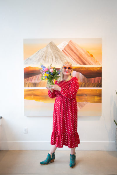 """Sunny Sarah Winkler at her artist reception for """"Wildflowers"""""""